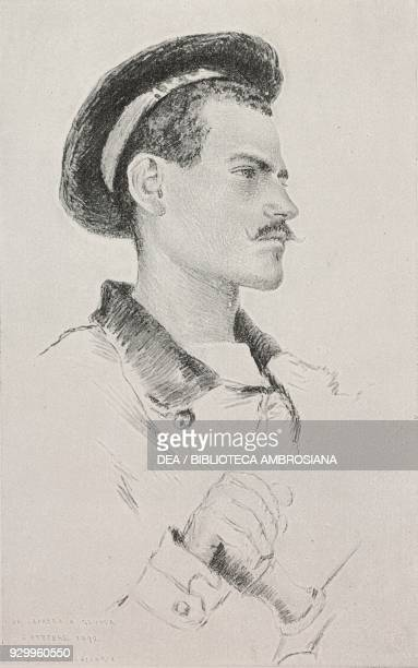 Portrait of a sailor at the helm Reggio Calabria Italy drawing by Antonio Piccinni colour photograph by Dante Paolocci Italian war ship from...