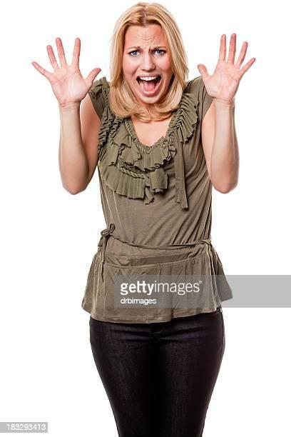 Spaventata Strillare giovane donna con le mani