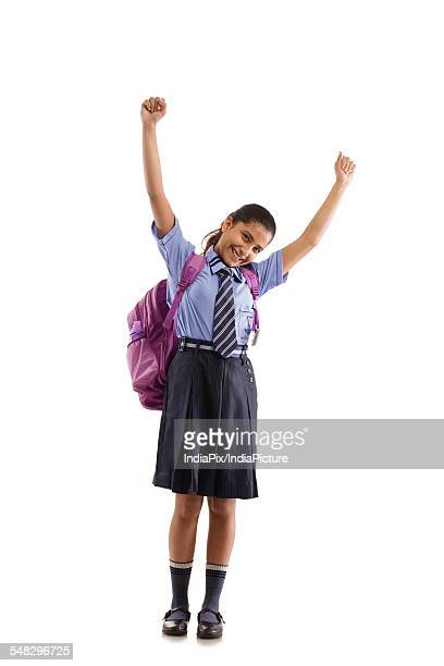 portrait of a school girl cheering - teenagers only stock pictures, royalty-free photos & images