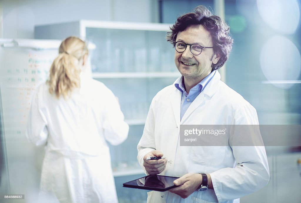Portrait of a Scientist in a Modern Laboratory : Stock Photo