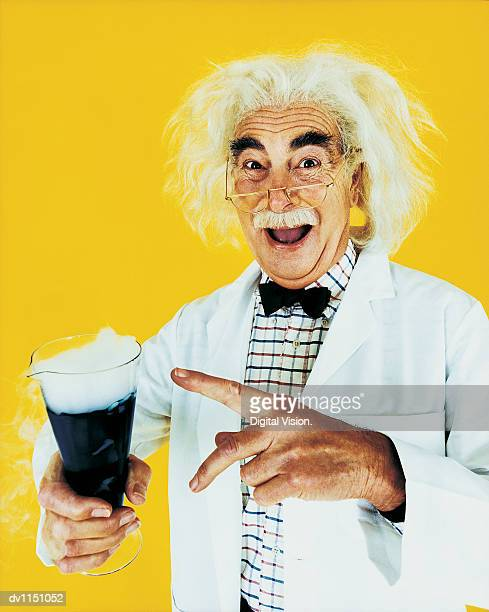 Portrait of a Scientist Pointing to a Flask of Smoking Chemicals