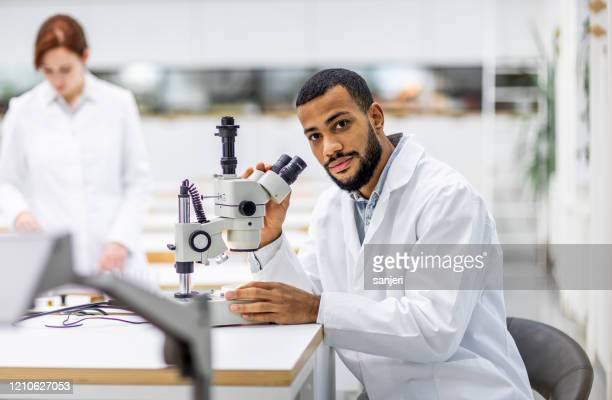 portrait of a scientist using a microscope - microbiology stock pictures, royalty-free photos & images
