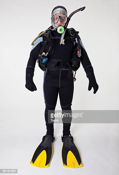 Portrait of a scuba diver, studio shot