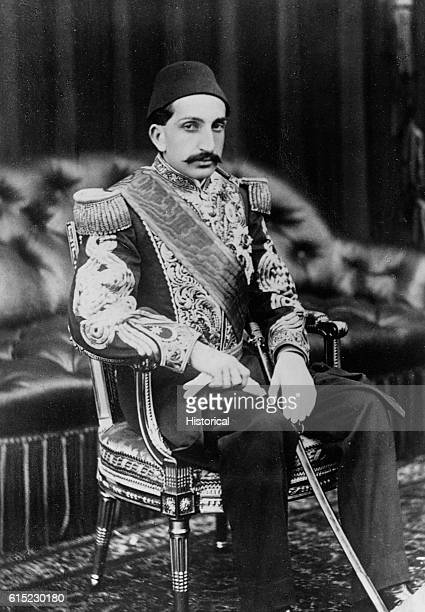 Portrait of a seated Abdulhamid II He was the Sultan of Turkey from 1876 to 1909