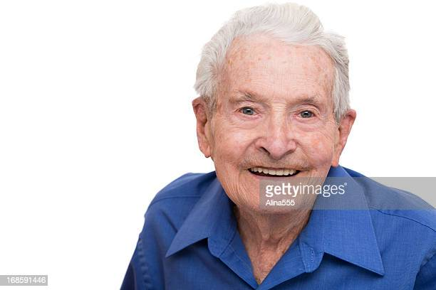 Portrait of a senior 90-year old man on white
