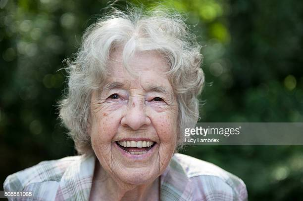 Portrait of a senior lady (98) smiling broadly