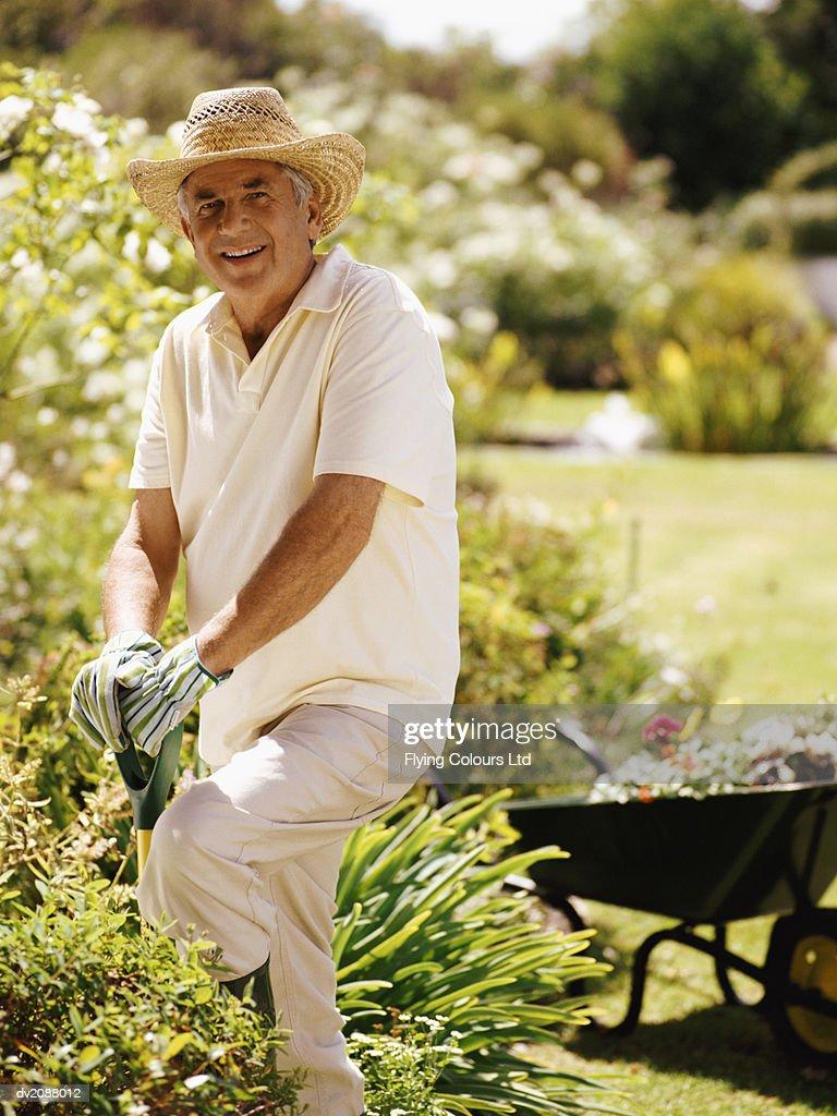 Portrait of a Senior Man Digging in a Domestic Garden : Stock Photo