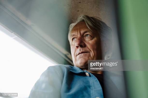 portrait of a senior man on tractor - farmer stock pictures, royalty-free photos & images