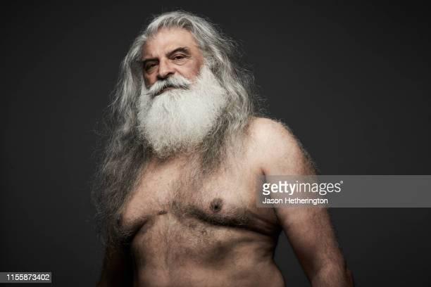 a portrait of a senior man with long grey hair and a white beard looking at the camera - jason wise stock pictures, royalty-free photos & images