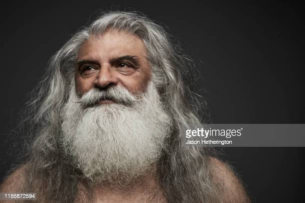 a portrait of a senior man with long grey hair and a white beard looking off into the distance - jason wise stock pictures, royalty-free photos & images