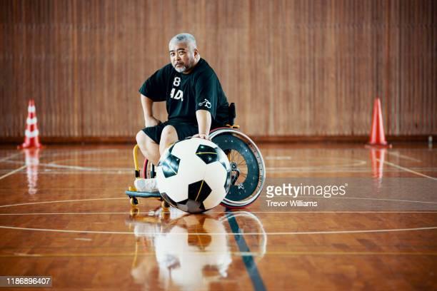 Portrait of a senior wheelchair soccer player