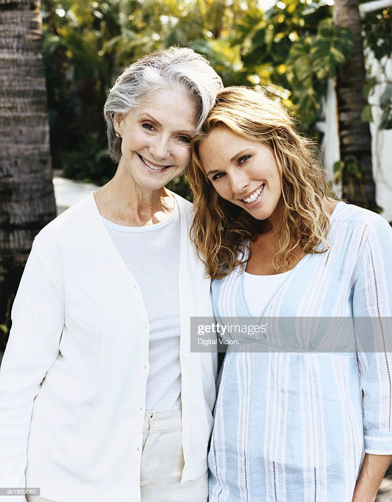 Portrait of a Senior Woman and Her Mature Daughter : Stock Photo