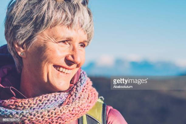 Portrait of a Senior Woman Hiking in Southern Julian Alps, Europe