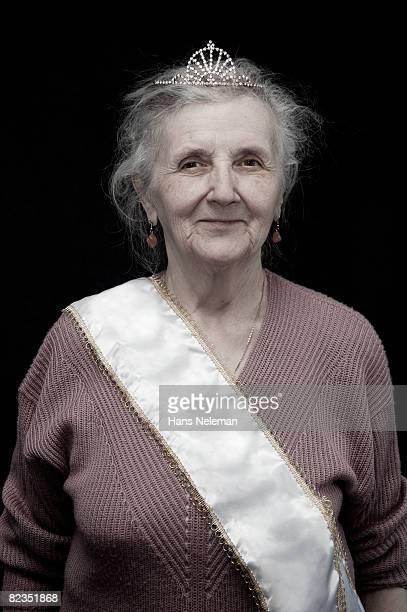 Portrait of a senior woman wearing crown