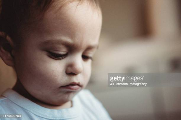 portrait of a serious male toddler wearing a white shirt with big cheeks - innocence stock pictures, royalty-free photos & images