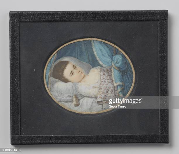 Portrait of a sick girl lying in bed George Nikolaus Ritter 1800 1809 Portrait miniature