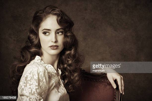 portrait of a sitting woman - victorian style stock pictures, royalty-free photos & images