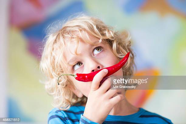Portrait of a sixyearold boy with a red chili pepper in front of his mouth on August 05 in Sankt Augustin Germany Photo by Ute Grabowsky/Photothek...