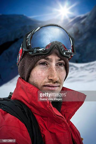 Portrait of a skier in the mountains