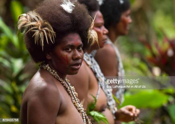 Portrait of a Small Nambas tribeswomen Malekula island Gortiengser Vanuatu on August 25 2007 in Gortiengser Vanuatu