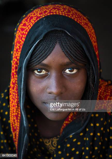 Portrait of a smiling Afar tribe teenage girl with braided hair on January 14 2017 in Mile Ethiopia