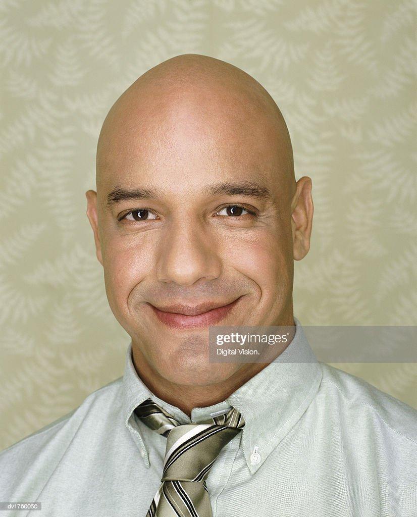 Portrait of a Smiling Bald Man : Stock Photo