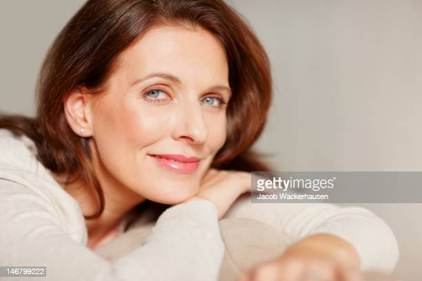 portrait of a smiling beautiful mature lady - pretty older women stock pictures, royalty-free photos & images