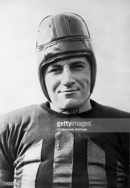 Portrait of a smiling Harold 'Hal' Griffen captain and center on the Iowa Hawkeyes football team Iowa City Iowa September 17 1925
