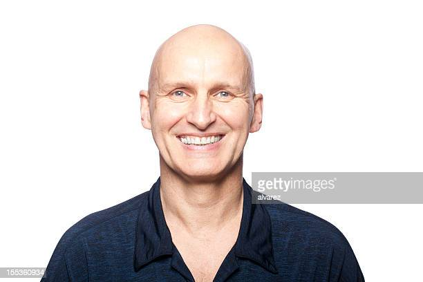 portrait of a smiling man - completely bald stock pictures, royalty-free photos & images