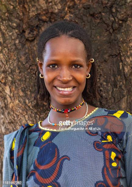 Portrait of a smiling Peul tribe woman Savanes district Boundiali Ivory Coast on May 3 2019 in Boundiali Ivory Coast