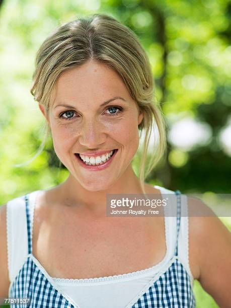 Portrait of a smiling Scandinavian woman Sweden.
