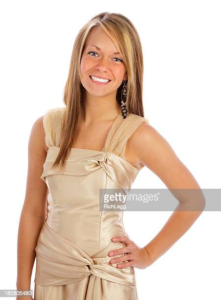 portrait of a smiling teenage girl - prom dress stock pictures, royalty-free photos & images