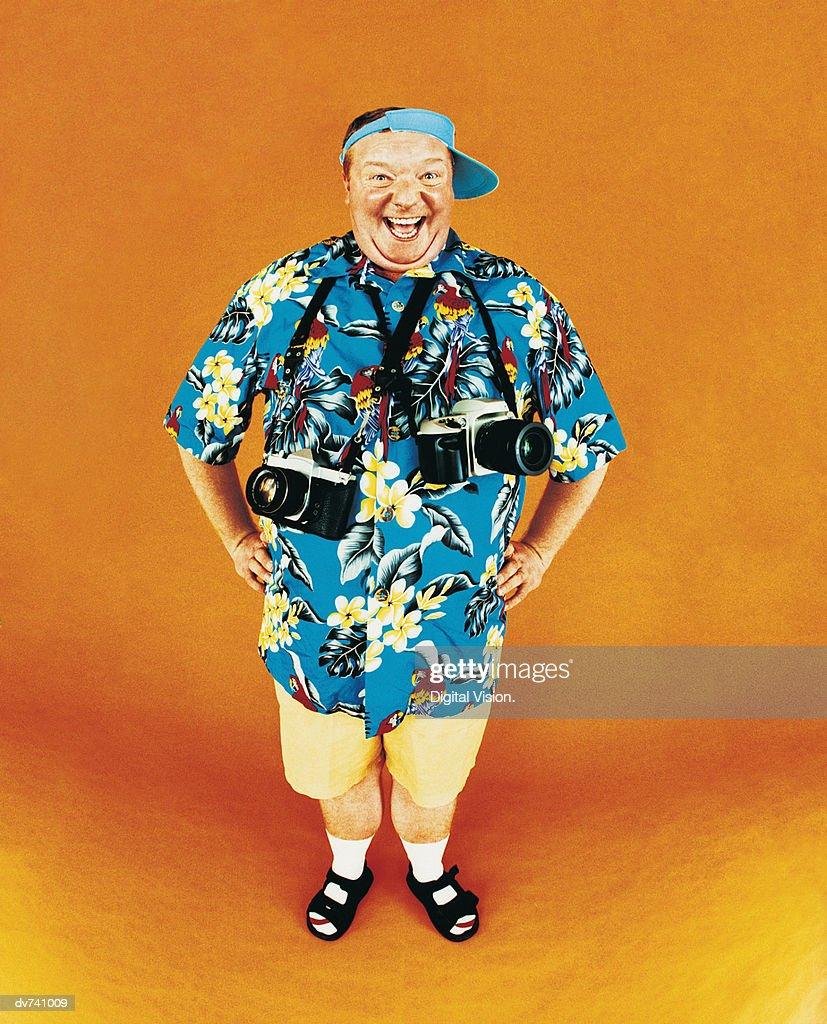 Portrait of a Smiling Tourist : Stock Photo