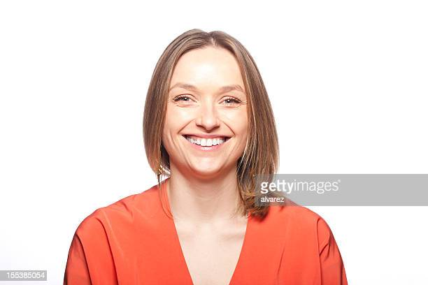 portrait of a smiling woman - medium length hair stock pictures, royalty-free photos & images