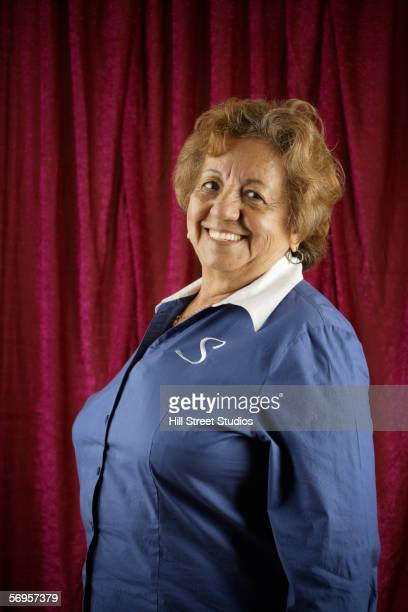portrait of a smiling woman - fat old lady stock photos and pictures
