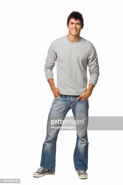 Retrato de un sonriente Joven hombre