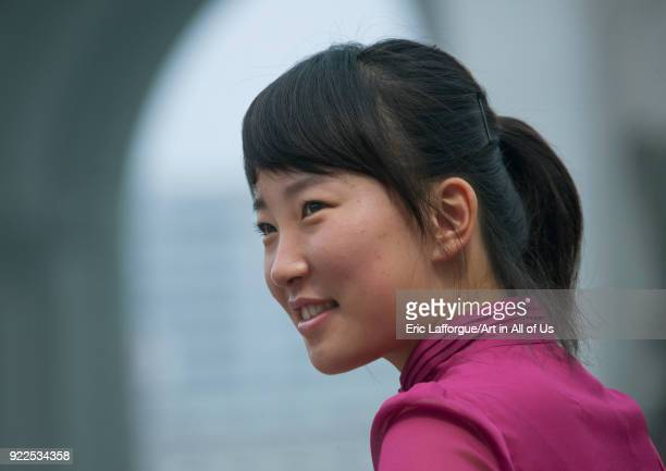 Portrait of a smiling young woman Pyongan Province Pyongyang North Korea on September 9 2011 in Pyongyang North Korea