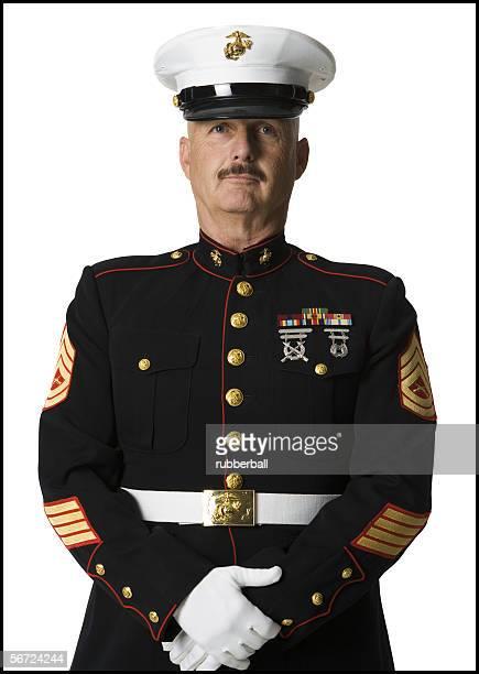 portrait of a soldier - uniform cap imagens e fotografias de stock