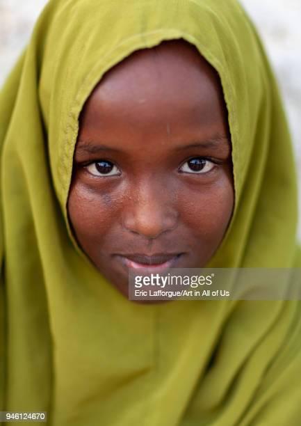 Portrait of a somali girl in green hijab NorthWestern province Berbera Somaliland on November 13 2011 in Berbera Somaliland