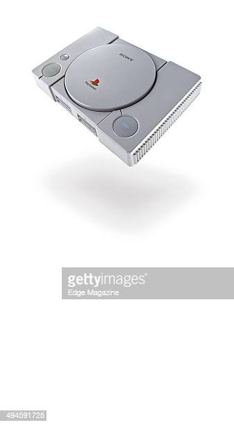 Portrait of a Sony PlayStation video game console photographed on a white background, taken on August 2, 2013.