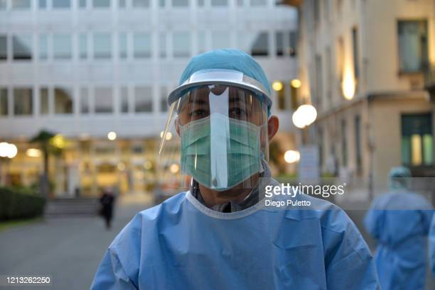 Portrait of a staff member assigned for Coronavirus tests at the Molinette hospital during the nationwide lockdown to control COVID19 spread on March...