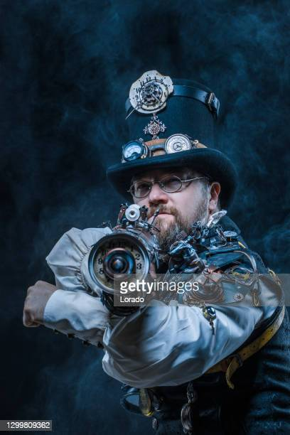 portrait of a steampunk male military character in a studio shot - major stock pictures, royalty-free photos & images