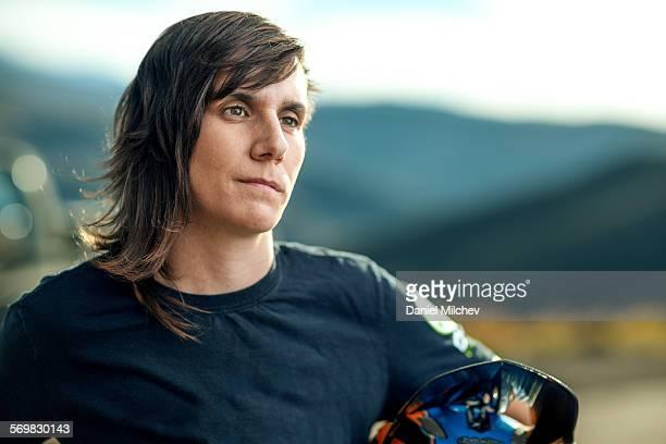 Portrait of a strom female bike racer.