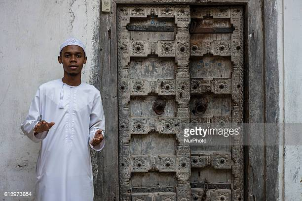 Portrait of a student from local school in the Stone Town in Zanzibar City Zanzibar Tanzania on 11 October 2016 Zanzibar's population is almost...
