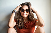 portrait beautiful young woman casuals sitting