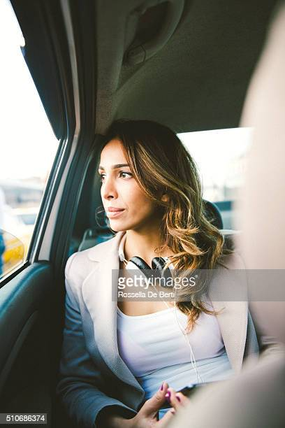 Portrait Of A Successful Businesswoman In A Taxi