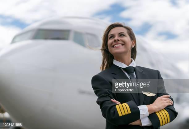Porträt eines erfolgreichen weiblichen Piloten