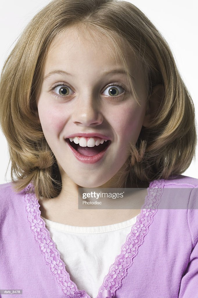 Portrait of a surprised girl (9-10) : Foto de stock