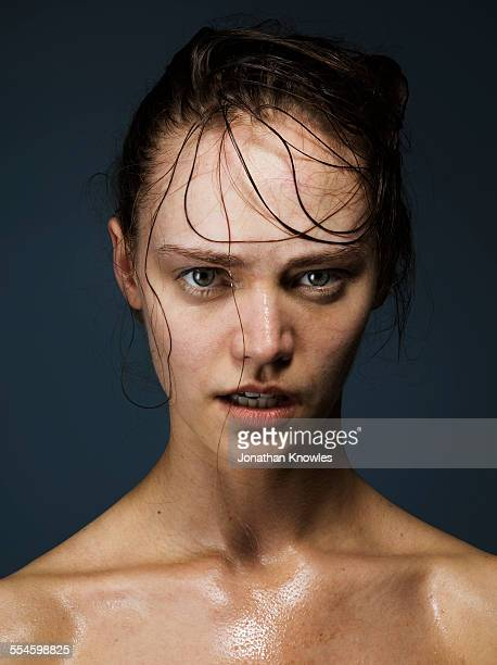 Portrait of a sweaty female