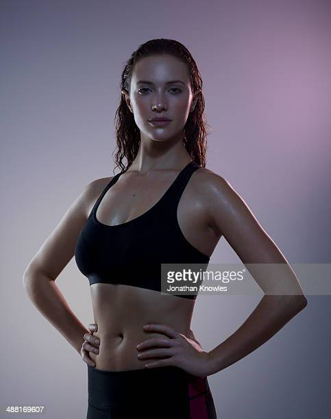 portrait of a sweaty female post workout - sportsperson stock pictures, royalty-free photos & images